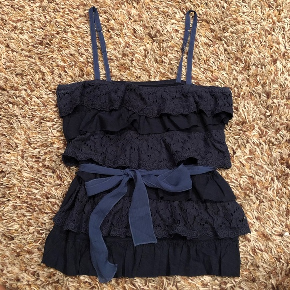 Abercrombie & Fitch Tops - Abercrombie & Fitch - navy ruffled tank top L